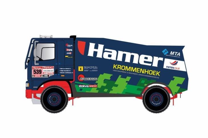 Nieuw design racetrucks en -jeep Hamer Rally Team