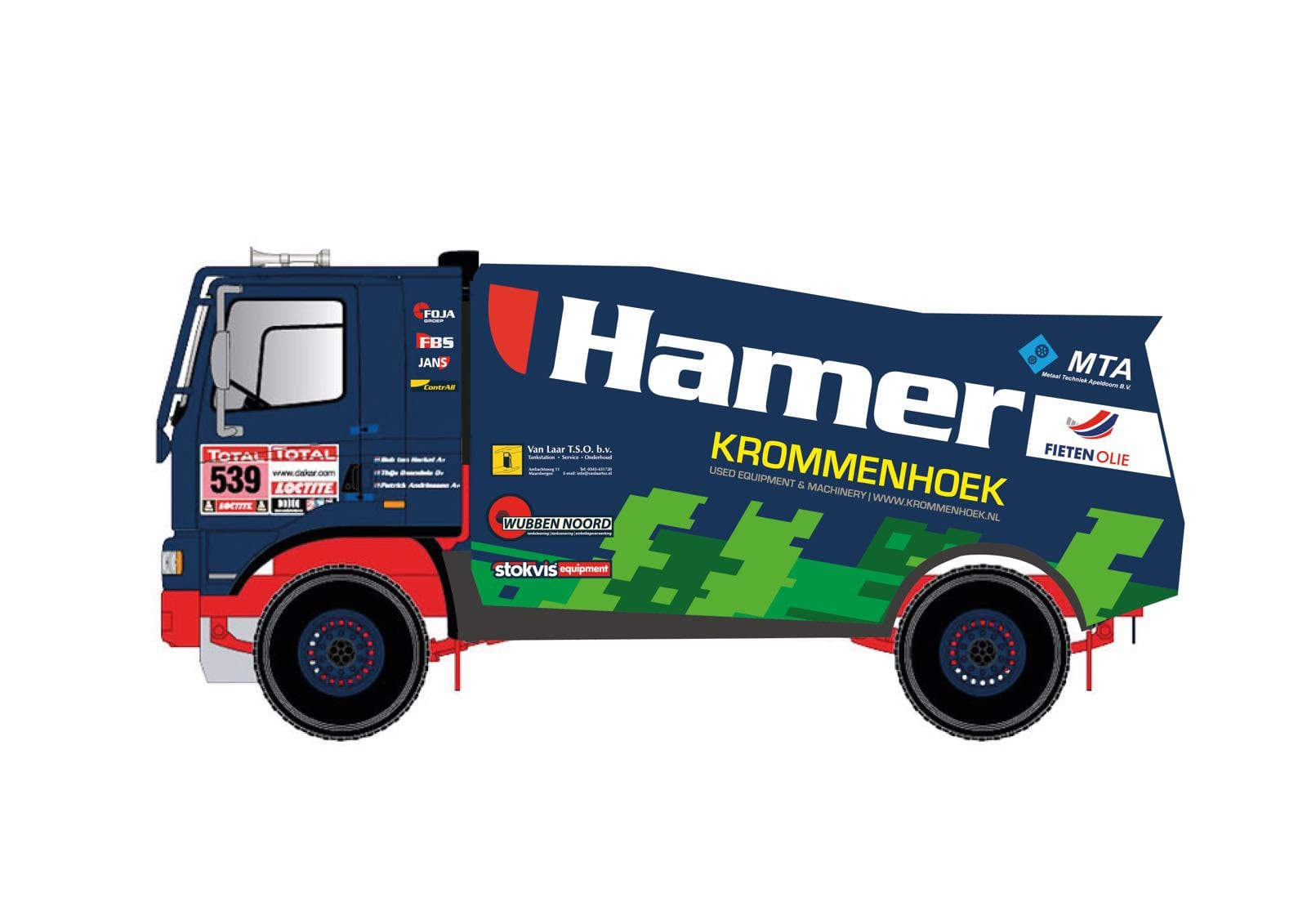 Nieuw design racetrucks en -jeep Hamer Rally Team